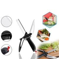 Silver Shine Clever Cutter 2-in-1 Food Chopper Multifunction Kitchen vegetable Scissors Cutter-Replace Kitchen Knife and Cutting Board Chopper Stainless Steel All-Purpose Scissor