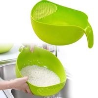 Silver Shine Washing Bowl With Handle Storing and Straining Rice Pulses Fruits Vegetable Noodles Pasta Etc.