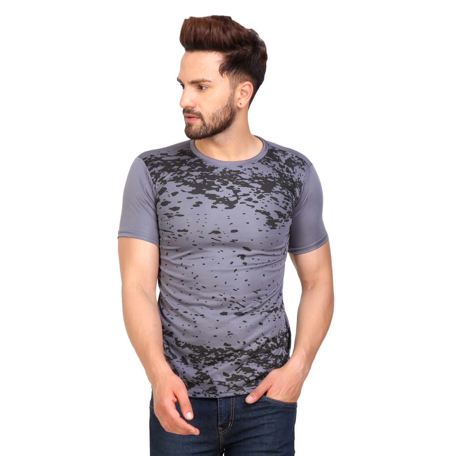 PAUSE Sport Brown Printed Sports Dry-Fit Round Neck Muscle Fit Short Sleeve T-Shirt