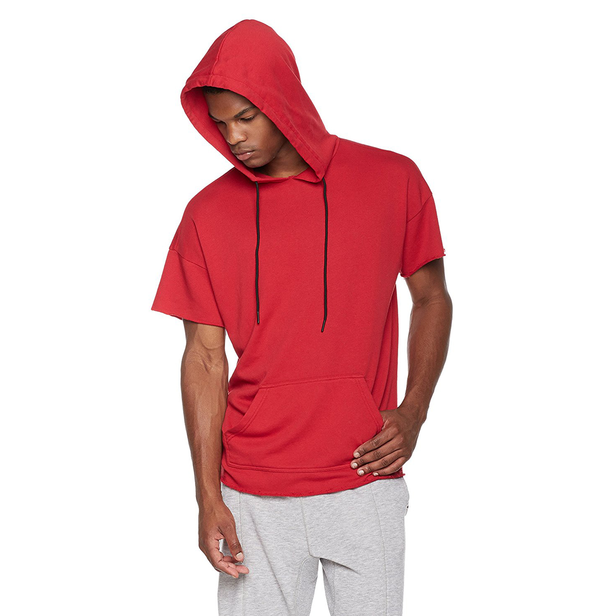 PAUSE Red Solid Cotton Round Neck Slim Fit Short Sleeve Men's T-Shirt