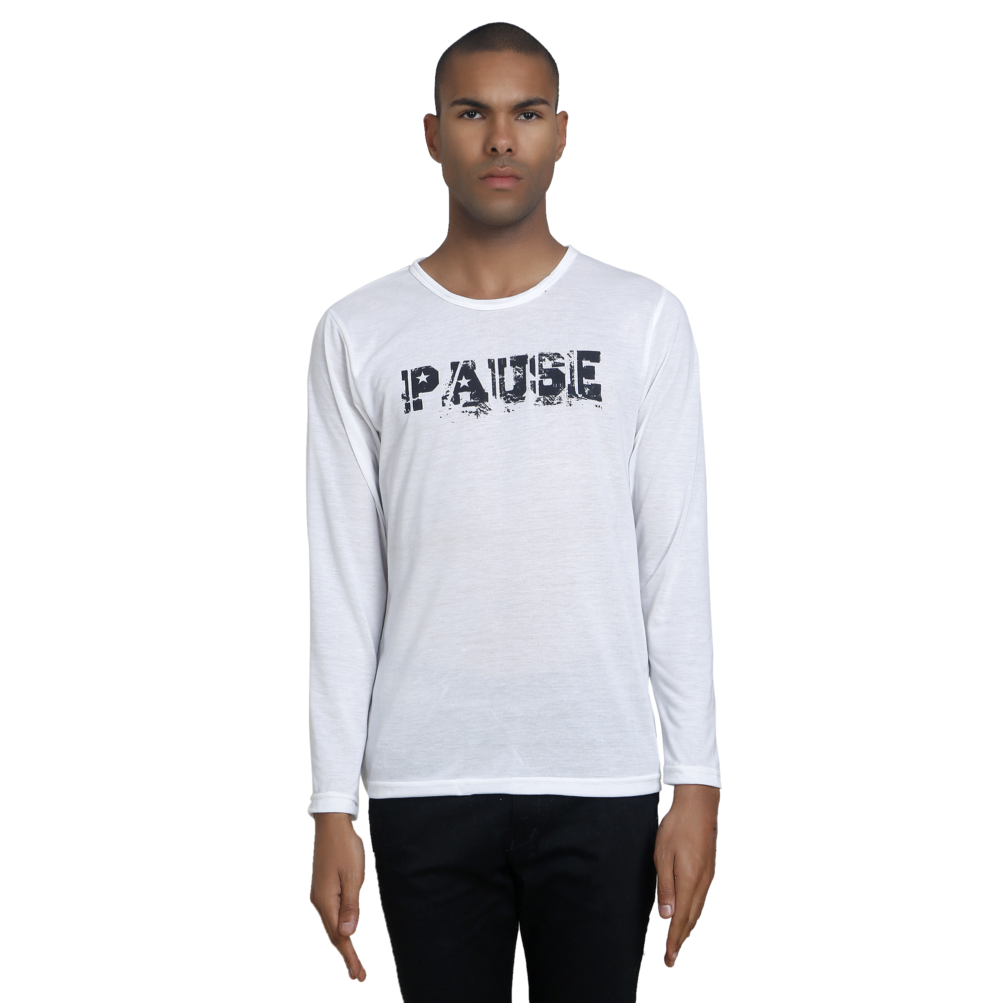 PAUSE White Solid Cotton Round Neck Slim Fit Long Sleeve Men's T-Shirt