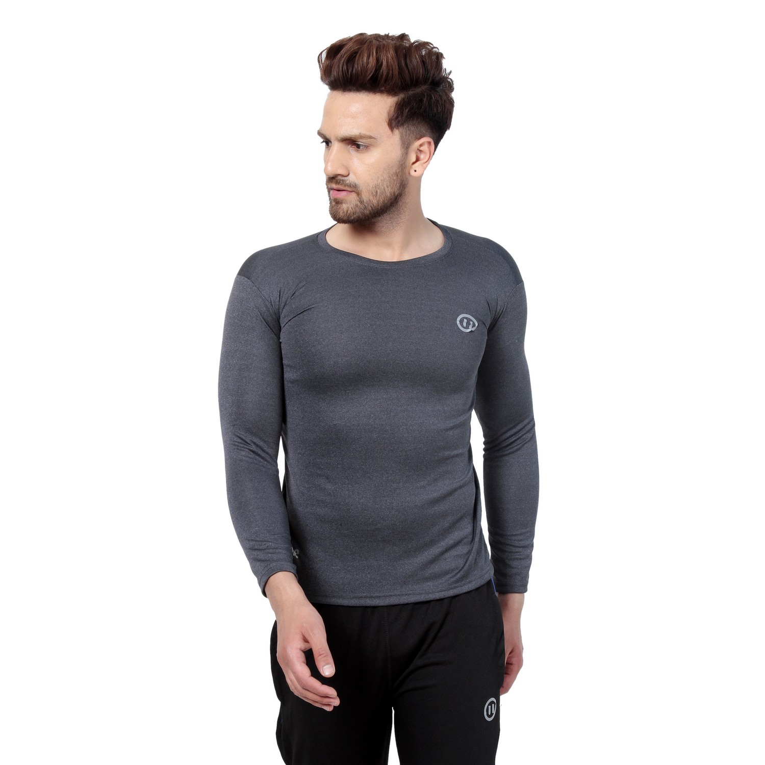 PAUSE Sport Grey Solid Sports Dry-Fit Round Neck Muscle Fit Full Sleeve T-Shirt