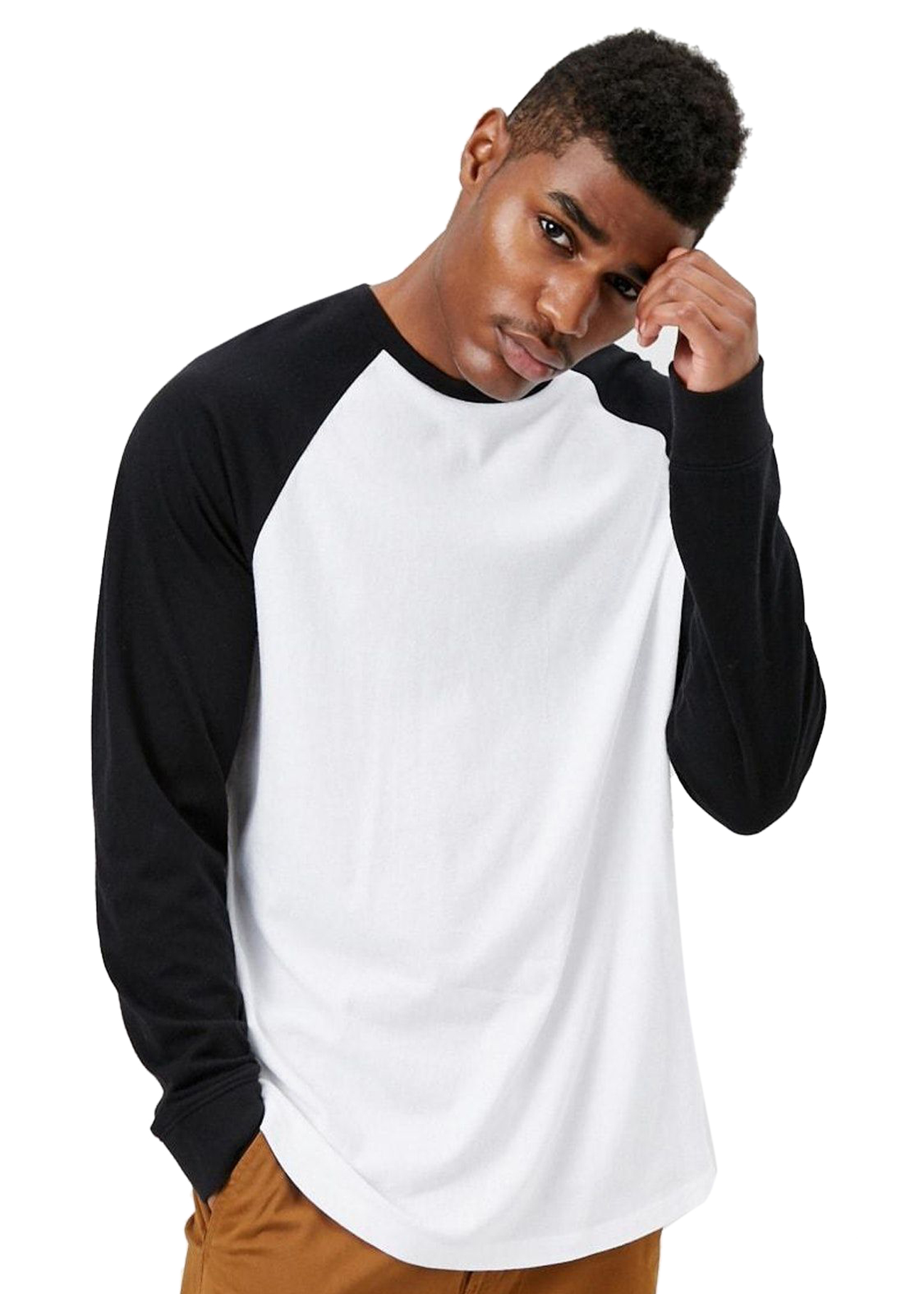 Pause Sport Cotton Solid Full Sleeve Round Neck Slim Fit White Men's T-Shirt