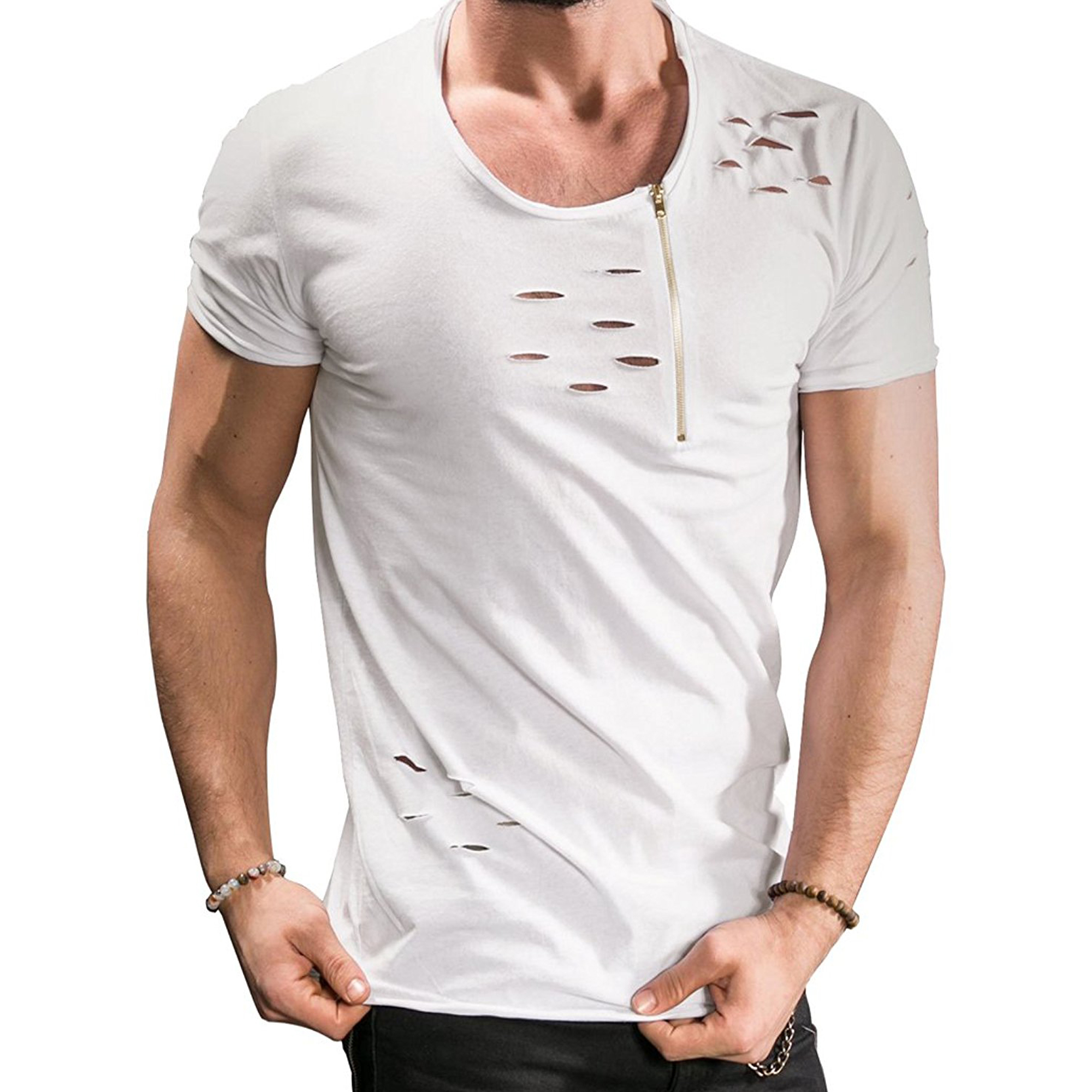 PAUSE White Solid Cotton Round Neck Slim Fit Short Sleeve Men's T-Shirt