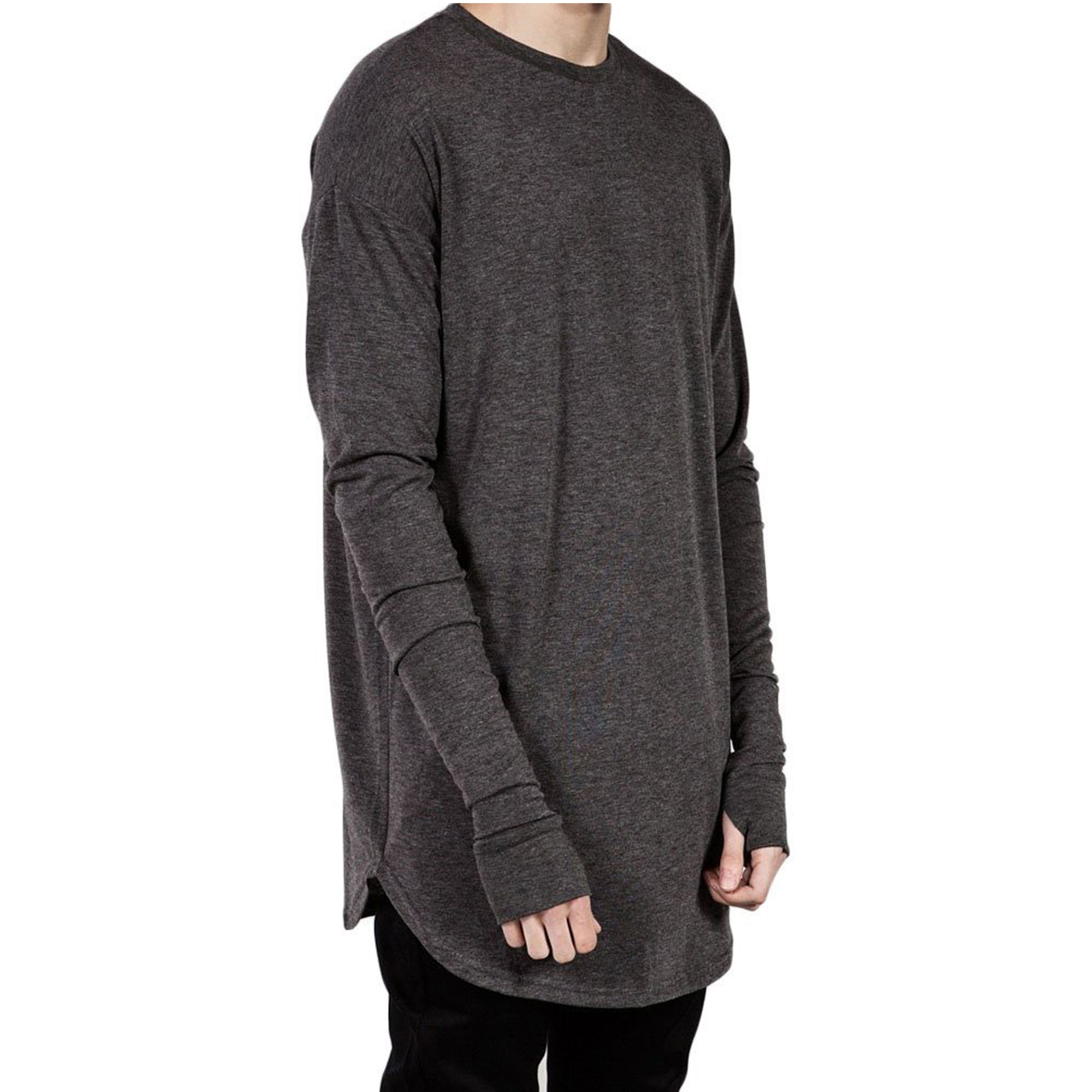 PAUSE Grey Solid Cotton Round Neck Slim Fit Full Sleeve Men's T-Shirt