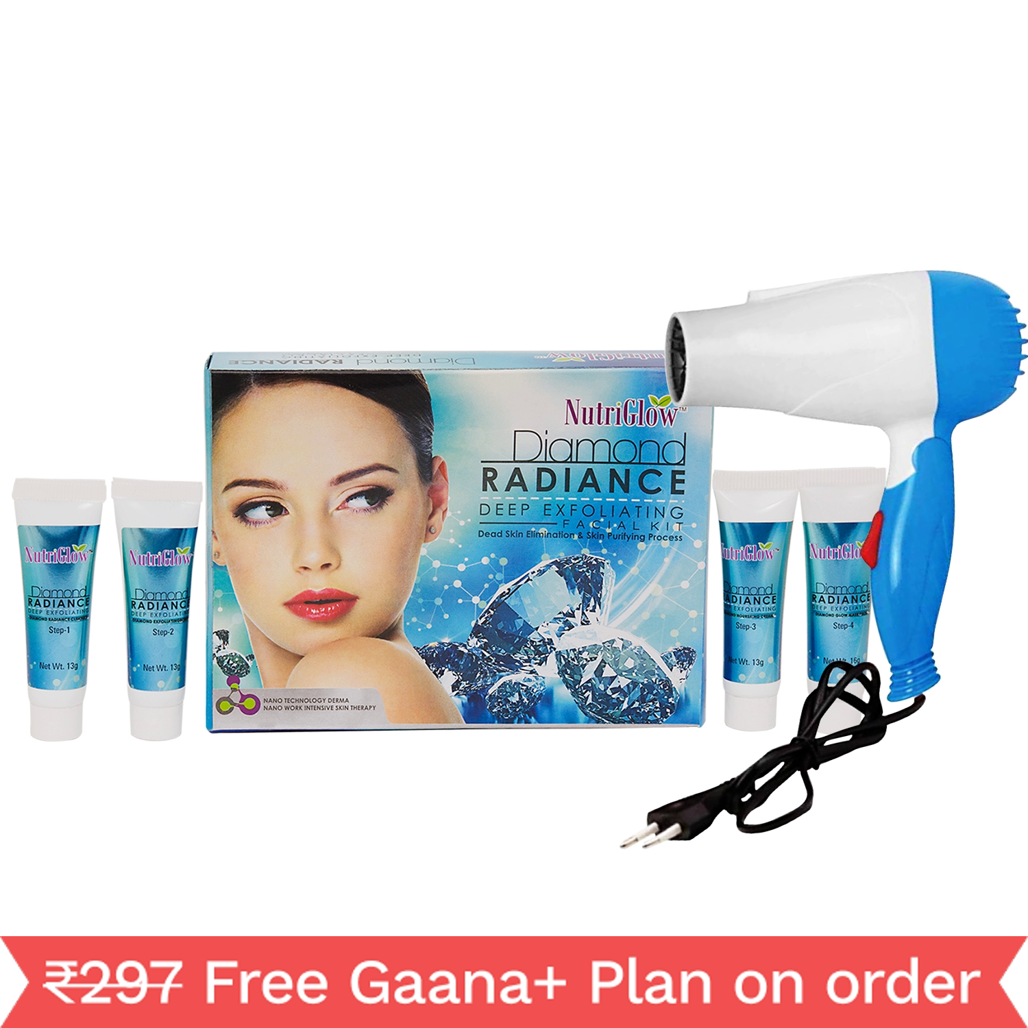 NutriGlow Ultra Rich Diamond Radiance Deep Exfoliating Facial Kit With Hair Dryer _245 gm (NGFD06)