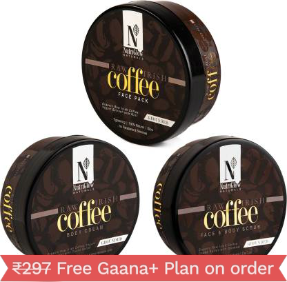 NutriGlow Natural's Coffee Combo - Face Pack|Body Cream|Face & Body Scrub (200 Gm each) (3 Items in the set)