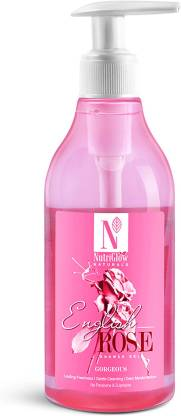 NutriGlow Natural's English Rose Shower Gel | Lasting Freshness | Gentle Cleansing | Deep Moisturisation | No Parabens & Sulphates | 300 ml