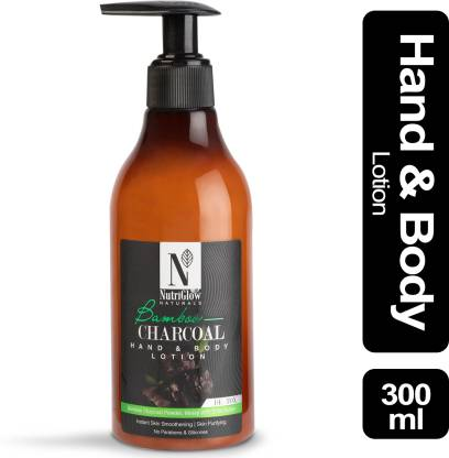 NutriGlow Natural's Bamboo & Charcoal Hand & Body Lotion With Bamboo Charcoal Powder | Honey with Shea Butter | Instant Skin Smoothening | Skin Purifying | no Parabens & Silicones_300 ML