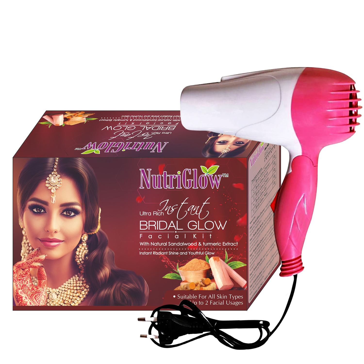 NutriGlow Ultra Rich Instant Bridal Glow Facial Kit With Hair Dryer _ 245 gm (NGFD23)
