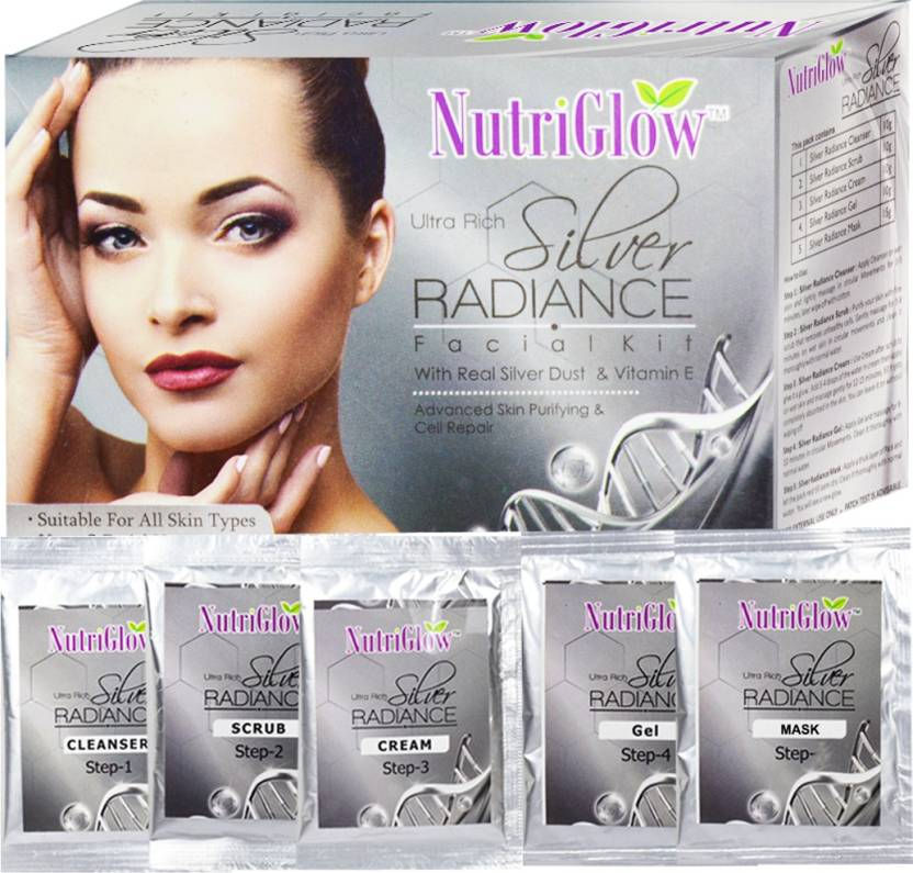 NutriGlow Radiance Facial Kit Pouches _55 GM - Silver
