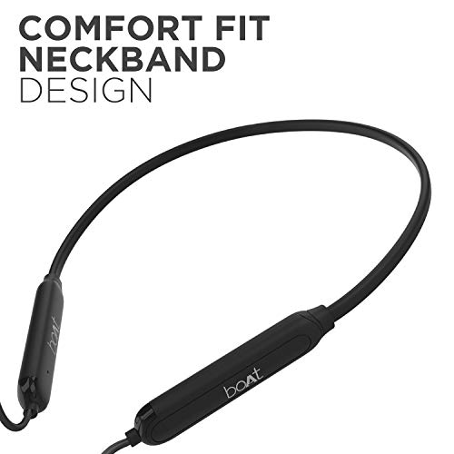 Boat 100 Wireless On-Neck Bluetooth V5.0 Earphones with Flexible & Lightweight Design, IPX 4 Sweat and Water Resistance & Integrated Controls with in-Built mic.