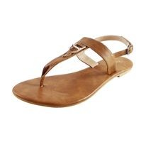 JKING Tan Faux Leather Flats For Women