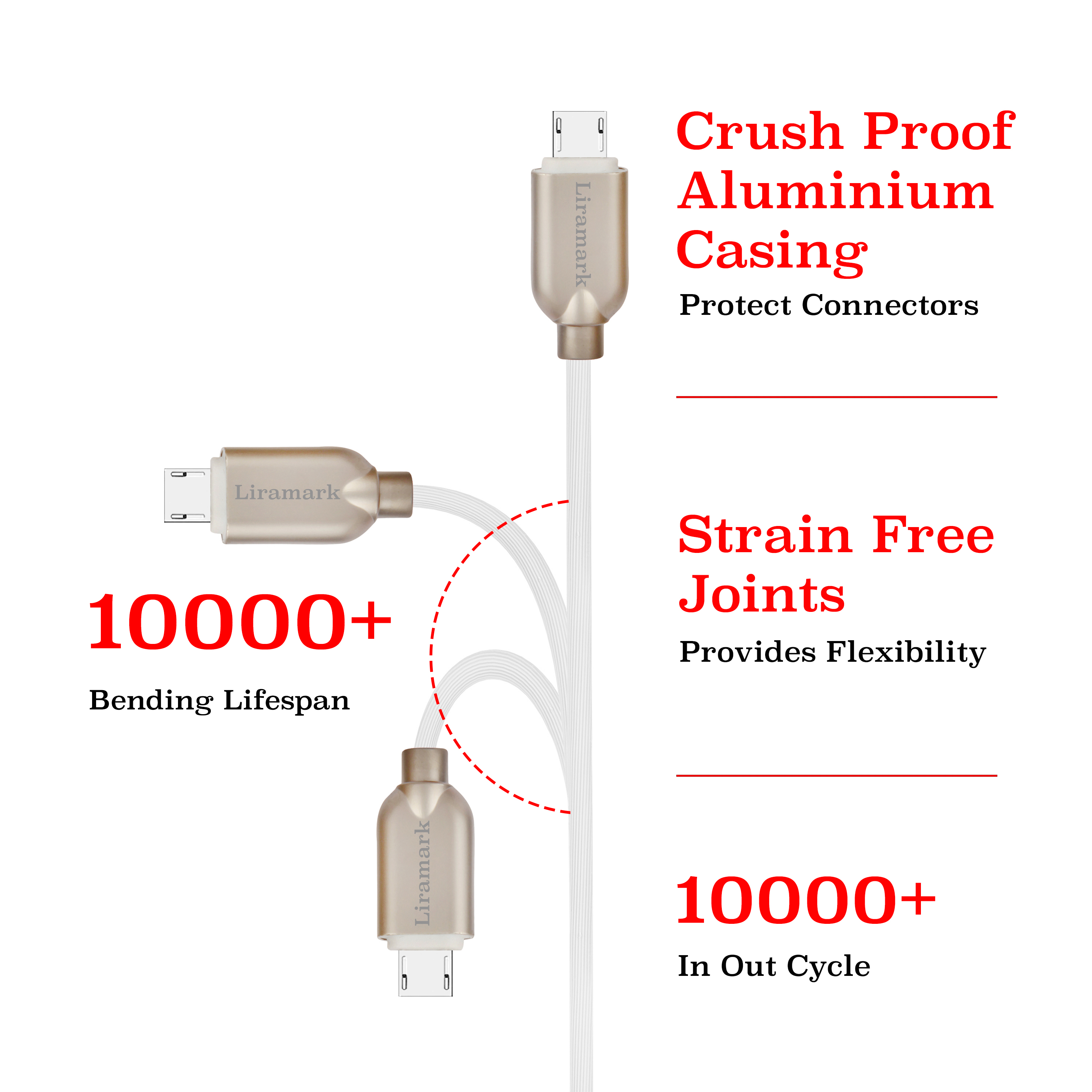 LIRAMARK 2m (6ft) Long Tough Micro USB (Data/Charging) Cable with Super Fast Charging up to 2.4Amps