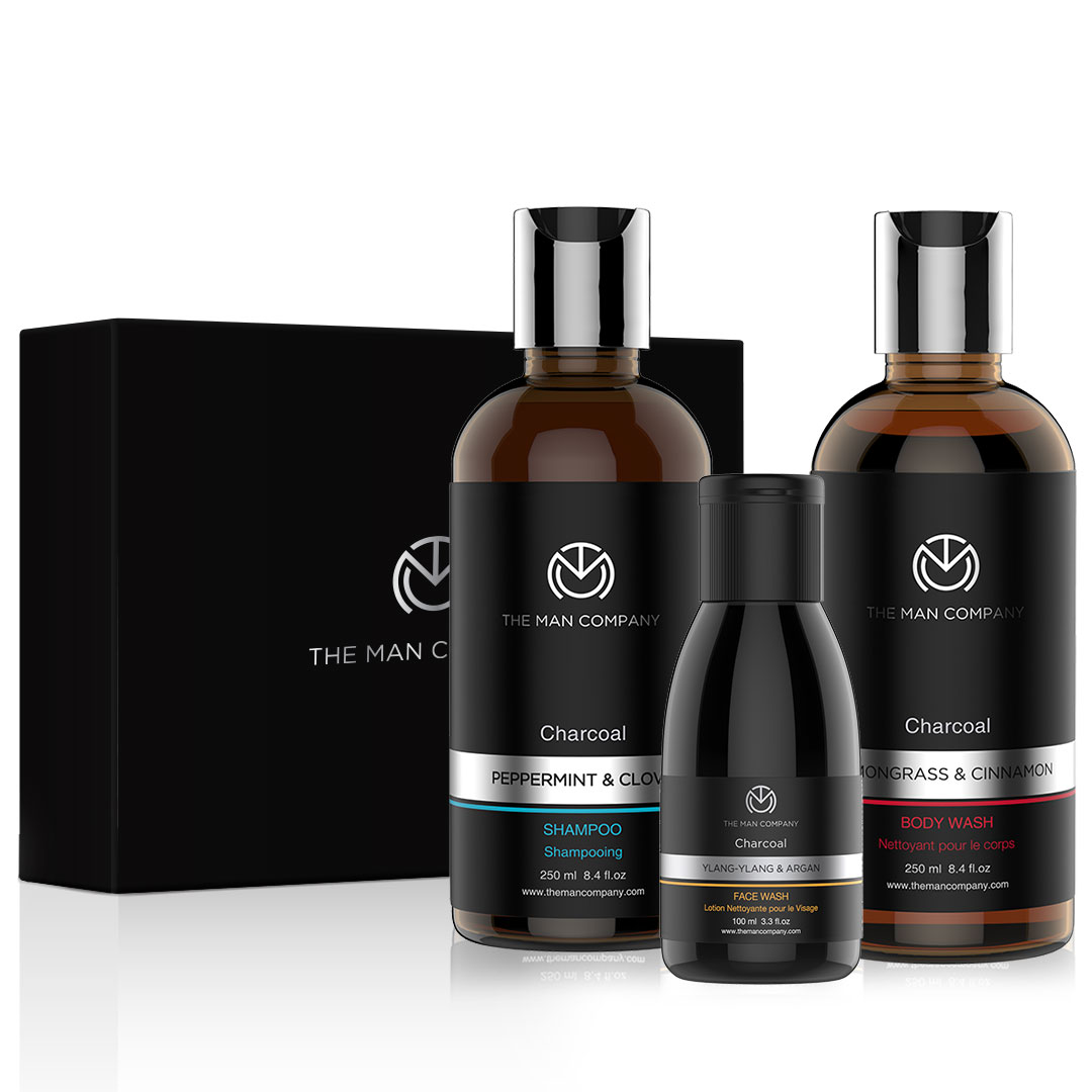 THE MAN COMPANY Cleanse Pack(Charcoal Shampoo + Charcoal Face wash + Charcoal Body wash)