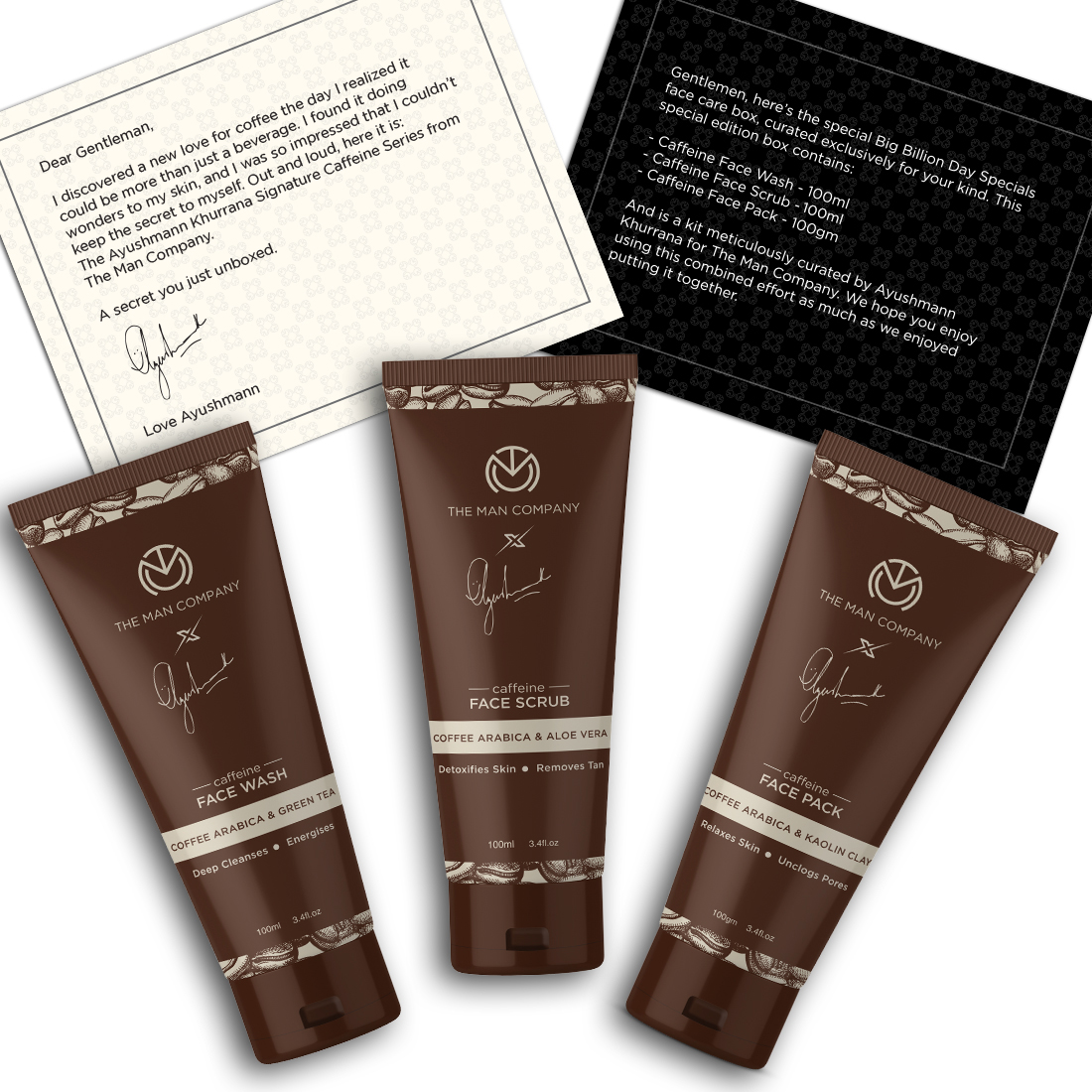The Man Company Face Cleanse Combo (Caffeine Facewash+Caffeine Face Scrub+Caffeine Face Pack)