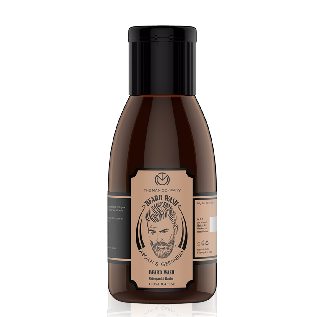 The Man Company Beard Box | Argan & Geranium- Beard Oil, Beard Wash, Comb & Scissors