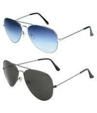 ETRG Unisex Premium  Aviators Blue Metal Sunglasses (Pack of 2)