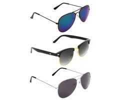 ETRG Unisex Premium  Aviators Blue Metal Sunglasses (Pack of 3)