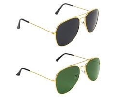 ETRG Unisex Premium  Aviators Black Metal Sunglasses (Pack of 2)