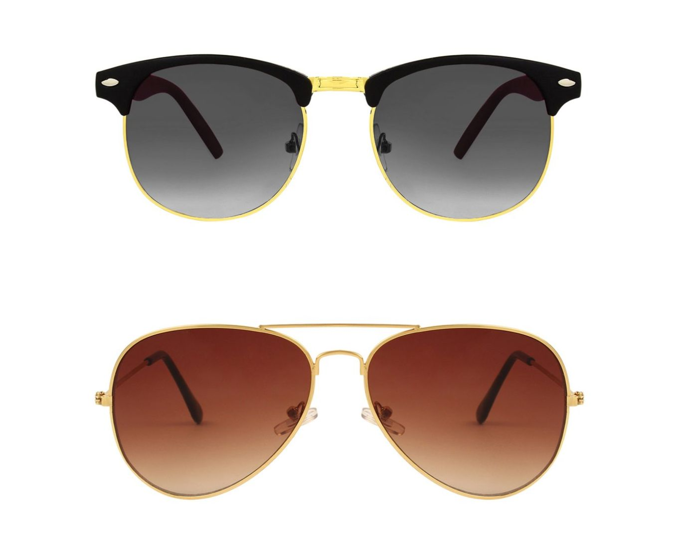 ETRG Unisex Premium  Aviators Brown Metal Sunglasses (Pack of 2)
