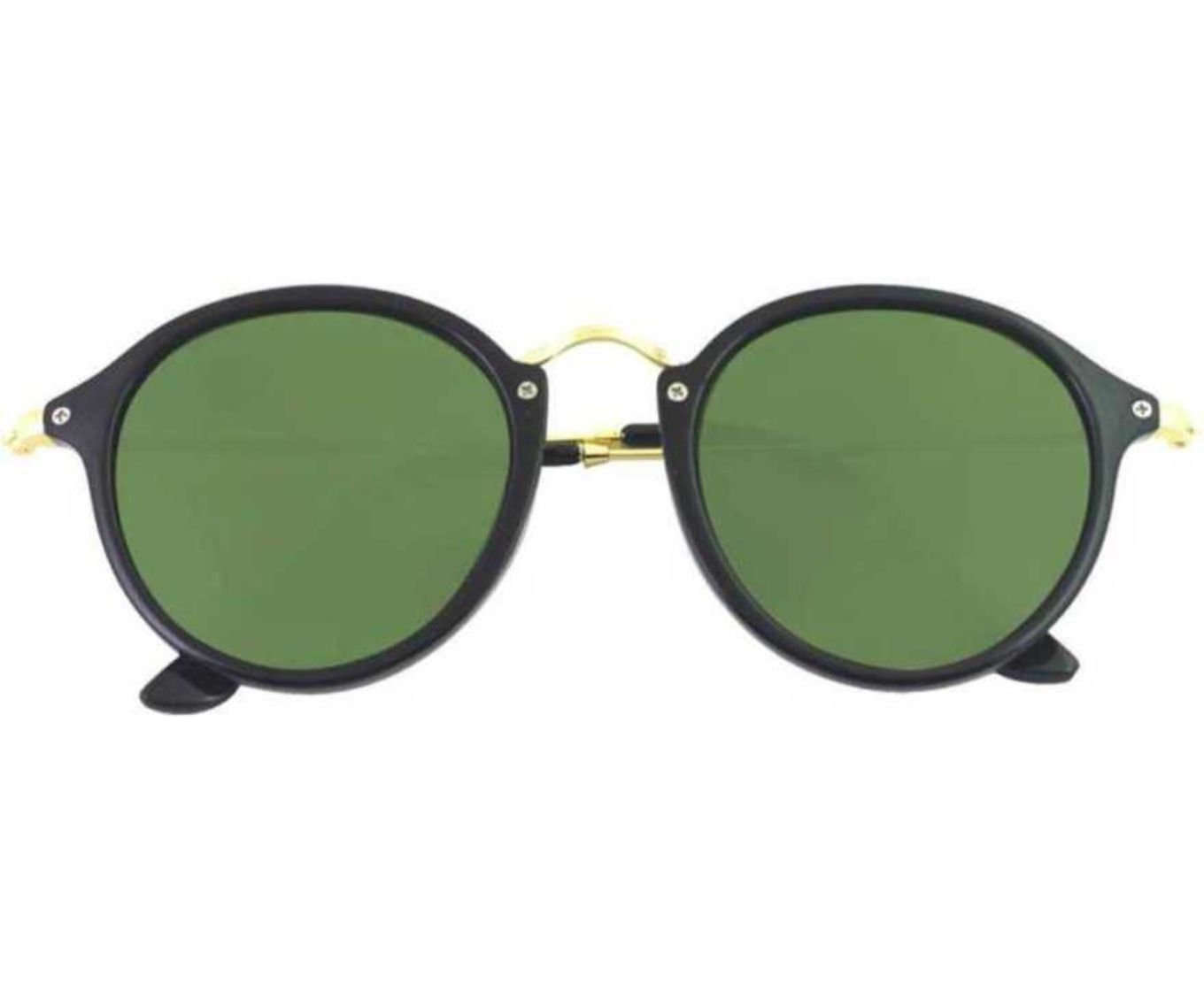 ETRG Unisex Premium  Oval Frames Green Metal Sunglasses (Pack of 2)