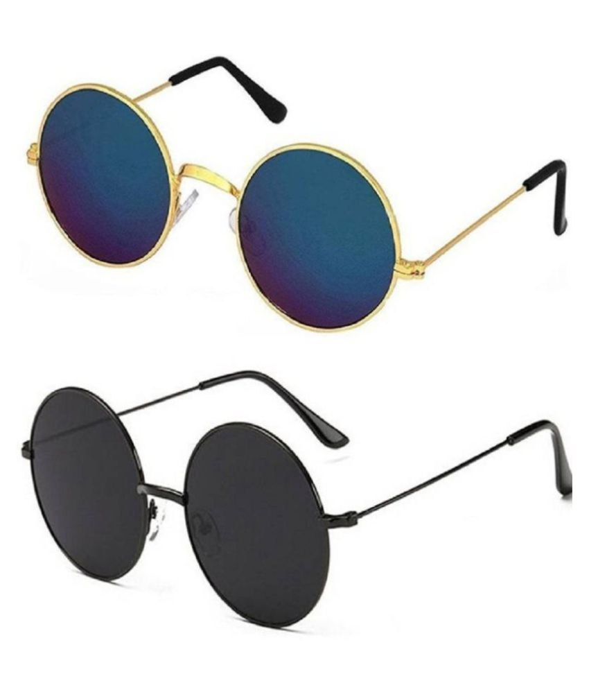 ETRG Unisex Premium  Round Frames Blue Metal Sunglasses (Pack of 2)