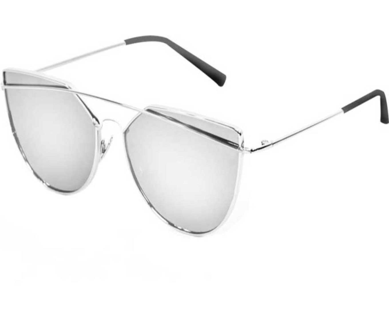 ETRG Unisex Premium  Oval Frames Silver Metal Sunglasses (Pack of 2)