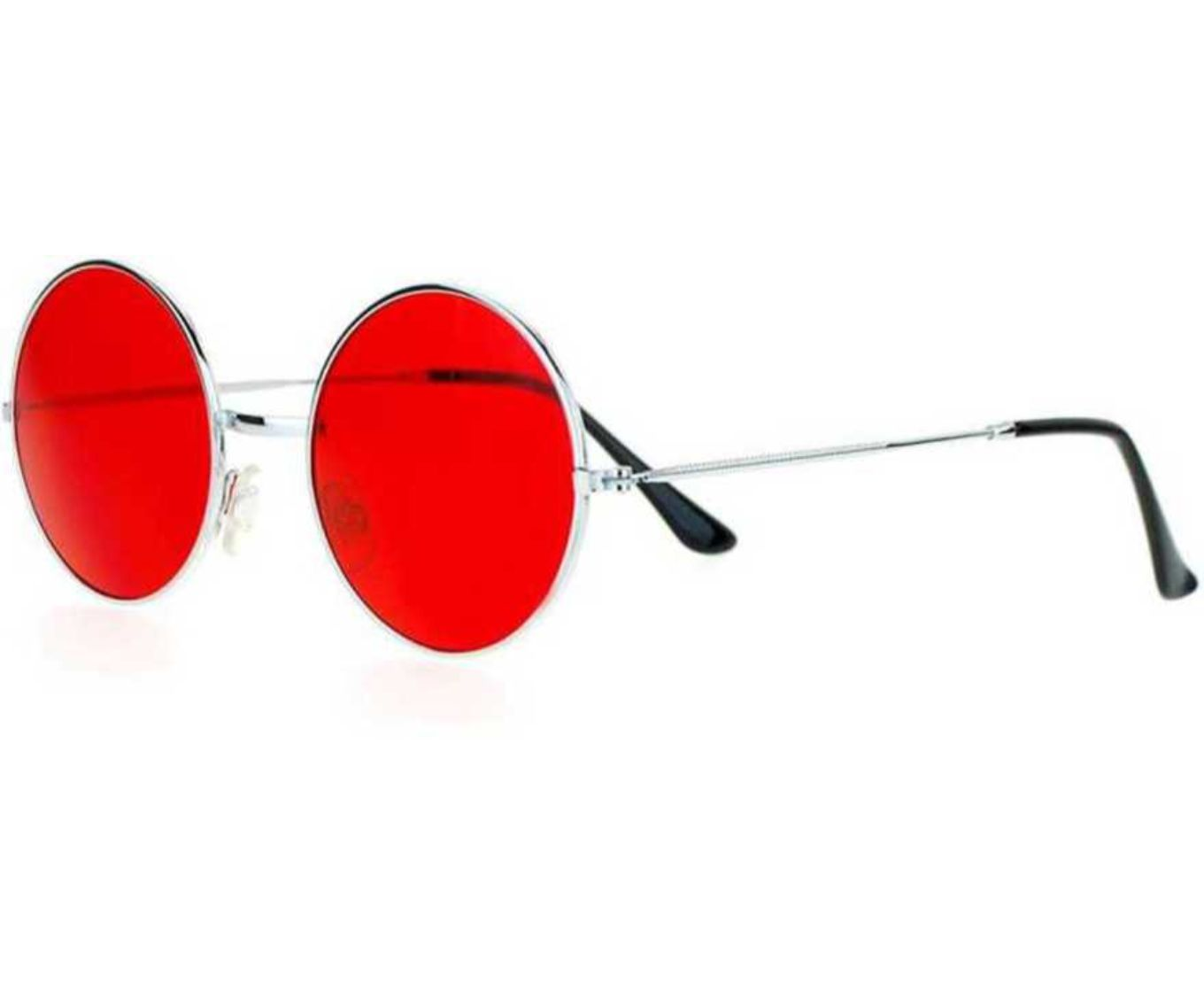 ETRG Unisex Premium  Round Frames Red Metal Sunglasses (Pack of 2)