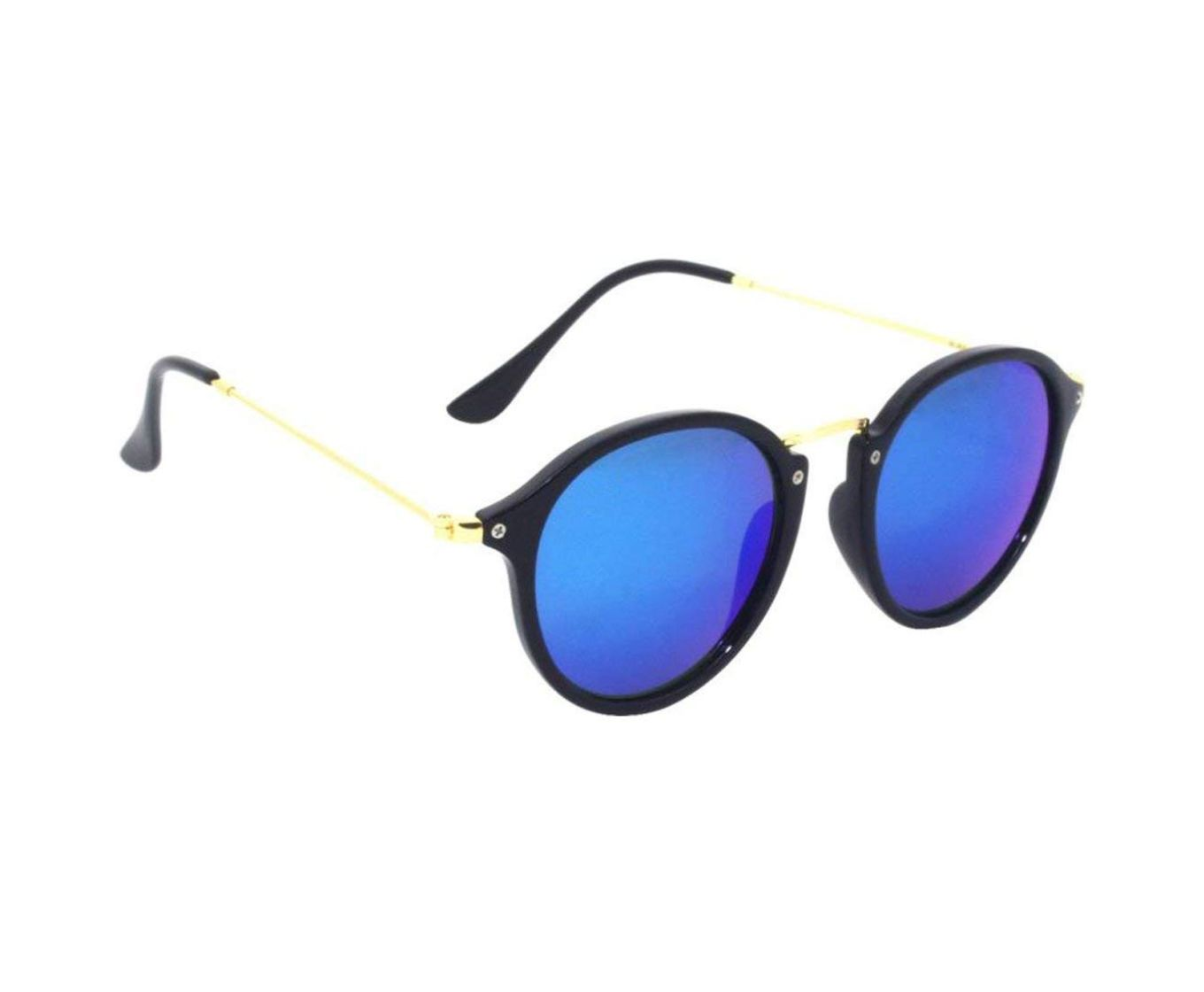 ETRG Unisex Premium  Oval Frames Black Metal Sunglasses (Pack of 2)