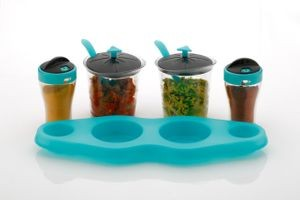 Unique Aachar Masala Stand With Salt Pepper Dispenser Set - Blue