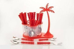 Home Turf Antic Cutlery Set of 24 Pcs - Red