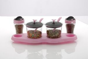 Unique Aachar Masala Stand With Salt Pepper Dispenser Set - Pink