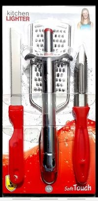 Home Turf Combo of Lighter, Knife, Pleeler and Grater - Red