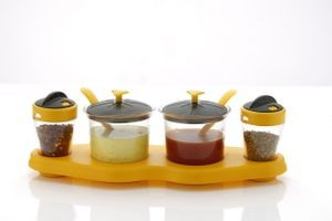 Unique Aachar Masala Stand With Salt Pepper Dispenser Set - Yellow