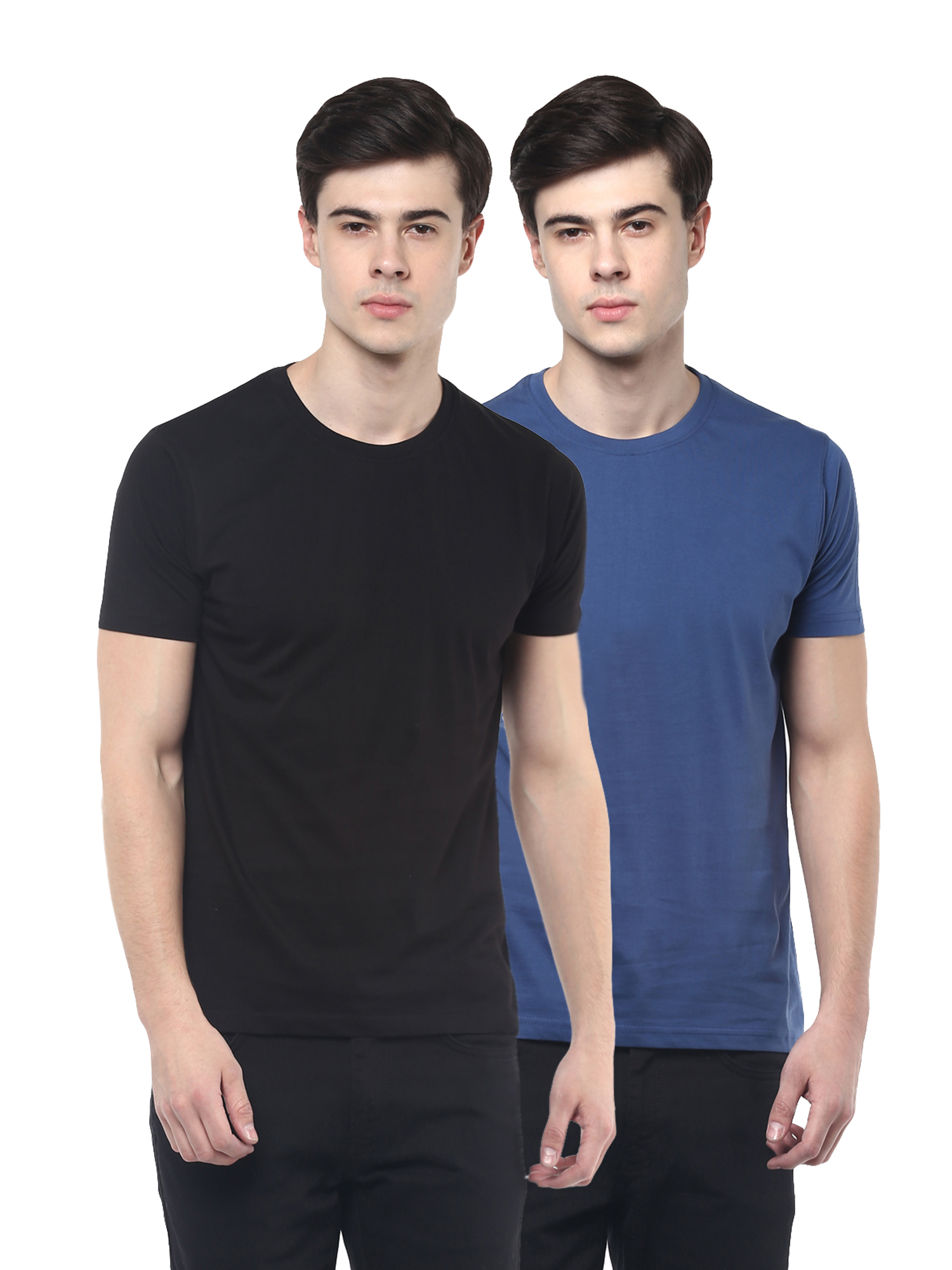 RECAST Solid Blue & Black Round Neck Half Sleeve T-Shirt (Pack of 2)