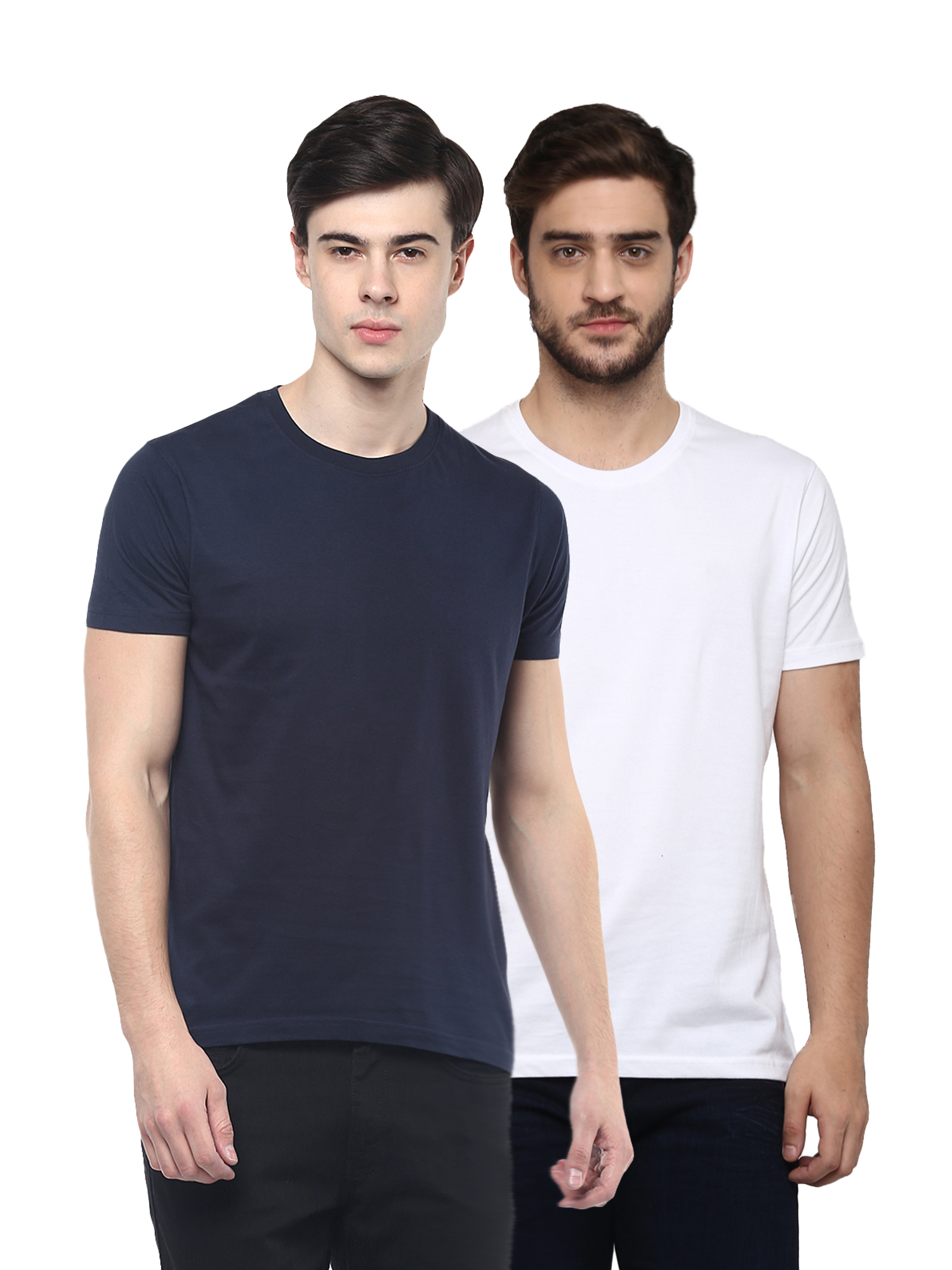 RECAST Solid Navy & White Round Neck Half Sleeve T-Shirt (Pack of 2)