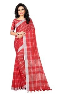 Mamta Red Cotton Linen Blend Woven Saree with Blouse