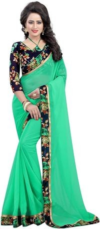 Mamta Light Green Poly Georgette Embroidered Saree with Blouse