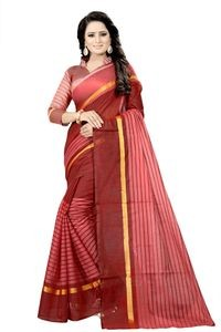 Mamta Maroon Cotton Silk Woven Saree with Blouse