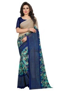 Mamta Blue Poly Georgette Printed Saree with Blouse