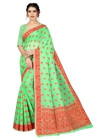 Mamta Green Cotton Blend Woven Saree with Blouse