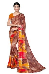 Mamta Brown Crepe Georgette Printed Saree with Blouse