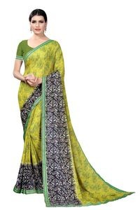Mamta Green Crepe Georgette Printed Saree with Blouse