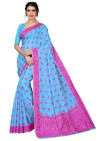 Mamta Blue Cotton Blend Woven Saree with Blouse