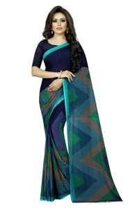 Mamta Light Blue Poly Georgette Printed Saree with Blouse