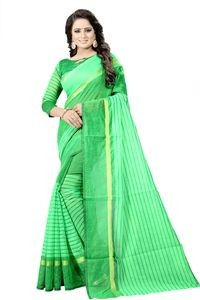 Mamta Green Cotton Silk Woven Saree with Blouse