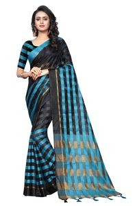 Mamta Black Cotton Silk Woven Saree with Blouse