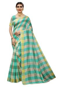 Mamta Light Green Cotton Silk Woven Saree with Blouse