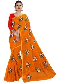 Mamta Orange Art Silk Plain Saree with Blouse